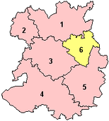 The ceremonial county prior to the 2009 local government restructuring, with just Telford & Wrekin as a unitary authority (shown yellow)