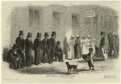 Slaves for sale, a scene in New Orleans, 1861