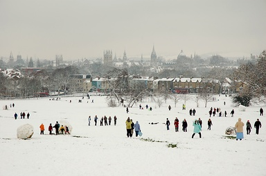 """Dreaming spires"" of Oxford University viewed from South Park in the snow"