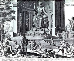 A statue of Zeus in a drawing.