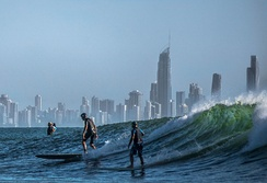 Surfing on the Gold Coast, Queensland, Australia