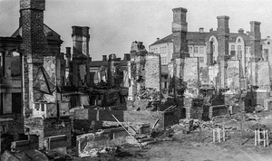 Ruinous buildings, with only the parts made out of concrete left standing, after the Battle in Tampere.