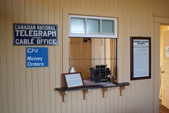 Restored CN Telegraph counter on display at the Saskatchewan Railway Museum