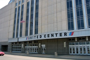 The United Center, home of the Chicago Bulls. Rodman wrote history in the 1996 NBA Finals when he twice secured 11 offensive rebounds in this building, tying an all-time NBA record.