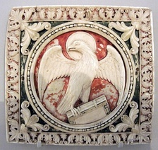 Carolingian ivory plaque with the eagle of Saint John, showing the customary halo, Victoria & Albert Museum