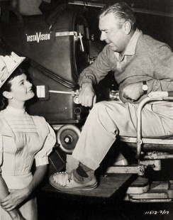 On set of We're No Angels (1955 film), Gloria Talbott and Loyal Griggs