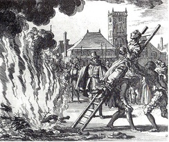 The burning of a 16th-century Dutch Anabaptist, Anneken Hendriks, who was charged with heresy.