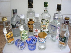 Russian Vodka in various bottles and cups.