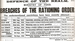 "A document says ""DEFENCE OF THE REALM"", ""MINISTRY OF FOOD"", ""BREACHES OF THE RATIONING ORDER"", ""The undermentioned convictions have been recently obtained"", and a list of various offences committed and the punishments handed out."