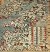 Part of Olaus Magnus' map depicting Lithuania: Lithuanian type of crop trade ships (naves frumentarie) - vytinė is seen close to Vilnius, also beehives protection from the bears(on the right side)