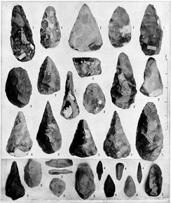 Paleolithic stone tools grouped by period