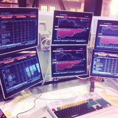A 2012 Bloomberg Terminal with a multi-monitor set-up composed of six screens