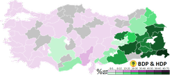Results obtained by the BDP and HDP by Province in the 2014 local elections