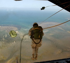 A pararescueman from the 131st Rescue Squadron jumps from an HC-130 during a training mission recently. The 131st works with the 449th Aor Expeditionary Group