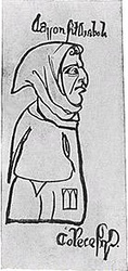"In  the 1277  caricature ""Aaron, Son of the Devil"", Aaron wears a badge with the Tablets of the Law."