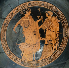 Apollo (left) and Artemis. Brygos (potter signed), tondo of an Attic red-figure cup c. 470 BC, Musée du Louvre.