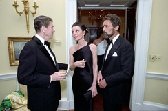 US President Ronald Reagan with Hepburn and Robert Wolders in 1981