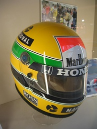 Senna's helmet bearing the colours of the Brazilian national flag.
