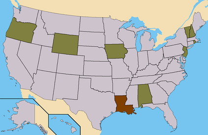Brown - States where Fellure had ballot access. (8 Electoral)Light Brown - States where Fellure had Write-In access. (50 Electoral)Total - 58 Electoral