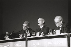 Boutros Boutros-Ghali, Klaus Schwab and Flavio Cotti - World Economic Forum Annual Meeting, Davos 1995.