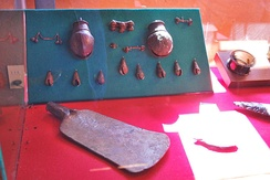 Copper alloy bells and tool, Tarascan state (1300 to 1530)