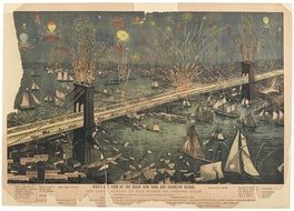 """Bird's-Eye View of the Great New York and Brooklyn Bridge and Grand Display of Fire Works on Opening Night"""