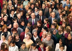 Faces in the Crowd: In keeping with the spirit of Swiss direct democracy, the 2008 official photograph of the Federal Council depicted them as everymen.
