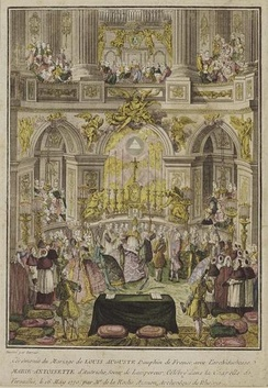 Marriage of Marie Antoinette with Louis-Auguste celebrated in the Royal Chapel of Versailles by the Archbishop-Duke of Reims on 16 May 1770