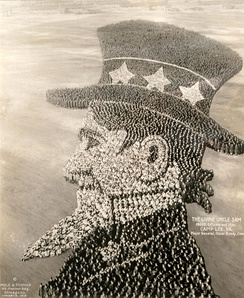 """The Living Uncle Sam"" formed by 19,000 military officers and men at Camp Lee, Virginia in 1918, during World War I"