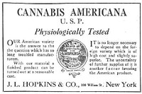 An advertisement for cannabis americana distributed by a pharmacist in New York in 1917
