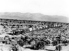 Two Holt 45 gas crawler tractors team up to pull a long wagon train in the Mojave Desert during construction of the Los Angeles Aqueduct in 1909.