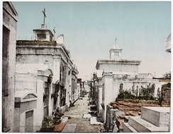 View of St. Louis Cemetery No. 1 showing the street-like layout of the tombs