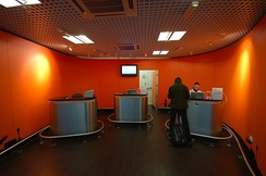 Box office for the Easyjet shuttle bus to London City at London Stansted Airport