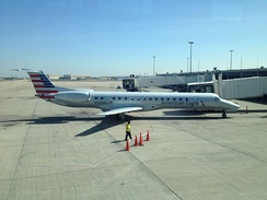 An American Eagle aircraft in new livery at Tulsa International Airport