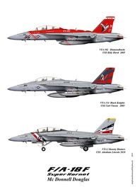 Three different color schemes for the F/A-18F