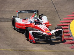 Rosenqvist driving for Mahindra Racing at the 2017 Berlin ePrix