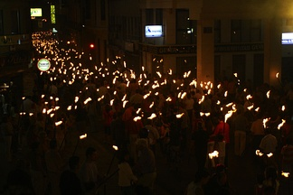 Torchlight procession of the Feast of San Juan.