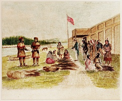 Fur trading at Fort Nez Percés in 1841