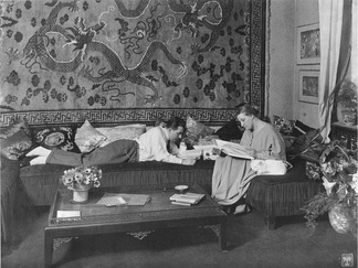Fritz Lang and Thea von Harbou in their Berlin flat, 1923 or 1924