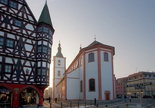 View of the Stadtpfarrkirche St. Blasius in Fulda