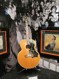 The 1956 Gibson J-200 acoustic guitar on display at Elvis Presley's Graceland.