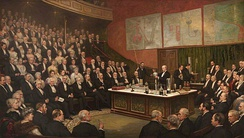 A Friday Evening Discourse at the Royal Institution; Sir James Dewar on Liquid Hydrogen by Henry Jamyn Brooks, 1904