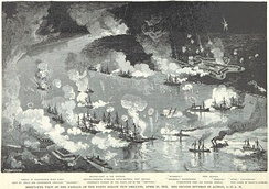 Admiral Farragut's second division passes the forts