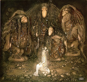 Mother Troll and Her Sons by Swedish painter John Bauer, 1915.