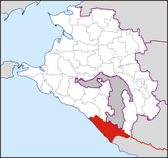 Sochi Urban Okrug on the map of Krasnodar Krai