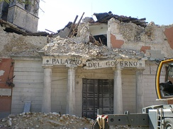 The L'Aquila prefecture (a government office) damaged by the earthquake