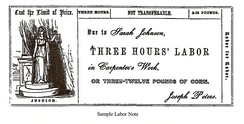 Sample labor for labor note for the Cincinnati Time Store, scanned from Equitable Commerce (1846) by Josiah Warren