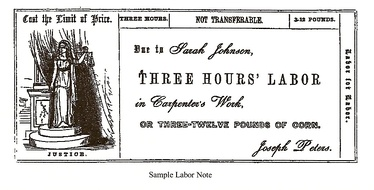 A 19th-century example of barter: A sample labor for labor note for the Cincinnati Time Store. Scanned from Equitable Commerce by Josiah Warren (1846)
