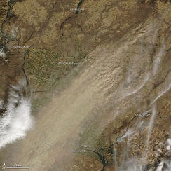 Dryland farming caused a large dust storm in arid parts of eastern Washington on October 4, 2009. Courtesy: NASA/GSFC, MODIS Rapid Response.[20]