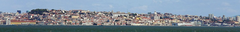 Partial view of Lisbon's waterfront districts from the Tagus River.